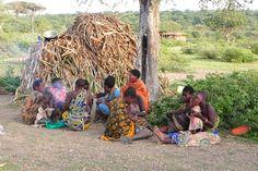 Hadzabe women at their hut near Lake Eyasi, Tanzania