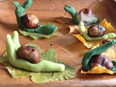 Play dough and conker snails Forest School Activities, Autumn Activities, Preschool Activities, Nursery Activities Eyfs, Children Activities, Minibeasts Eyfs, Snail And The Whale, Autumn Animals, Finger Gym