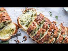 Cheesy Stuffed Pesto Garlic Bread. {Video!} - How Sweet Eats