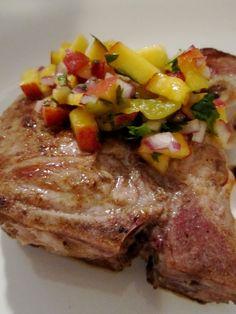 Cumin Rubbed Pork w/ Peach and Hatch Chile Salsa