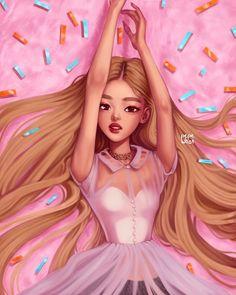 rosé 🌹 pls tag her :) Kpop Drawings, Cute Drawings, Digital Art Girl, Fan Art, Rose Art, Blackpink Photos, Kpop Fanart, Blackpink Jisoo, Lisa