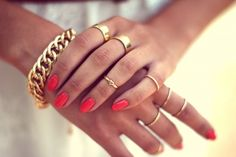 Gold Chain Bracelet and Rings