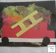 Fire Truck Craft With Flame Painting for Kids