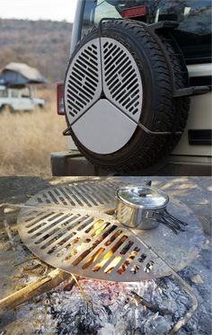 This ingenious, stainless steel cooking grate, stores over your spare wheel and takes up virtually no space. Van Camping, Camping Life, Bbq Grates, Camping Survival, Survival Skills, Van Living, Grill Design, Truck Camper, Truck Accessories