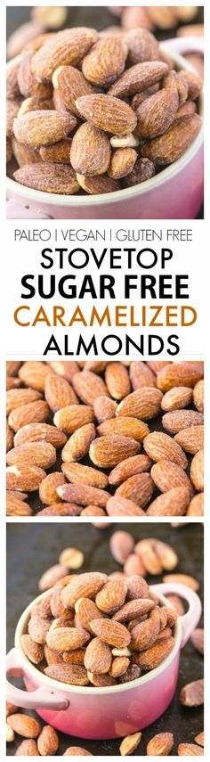 Stovetop Sugar Free Caramelized Nuts- Using a natural granulated monk fruit sweetener, it's completely sugar free and SO delicious, made over the stove! {vegan, gluten free, paleo recipe}