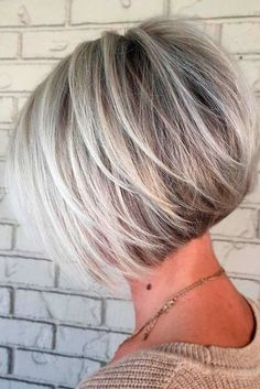100 Mind-Blowing Short Hairstyles for Fine Hair Angled Silver Balayage Bob With Swoopy Layers Layered Haircuts For Women, Short Bob Haircuts, Cool Haircuts, Stacked Bob Haircuts, Haircut Short, Haircut Styles, Undercut Short Bob, Aline Bob Haircuts, Short Hair Cuts For Women Over 40