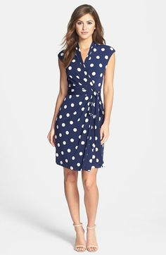 Love this wrap dress! Especially the cut of the neckline and the sleeves. Eliza J Polka Dot Jersey Faux Wrap Dress (Petite) available at Petite Dresses, Cute Dresses, Casual Dresses, Fashion Dresses, Cute Outfits, Wrap Dresses, Maxi Dresses, Eliza J Dresses, Dance Dresses