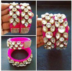 kundan silk thread Silk Thread Bangles Design, Silk Bangles, Bridal Bangles, Thread Jewellery, Paper Jewelry, Fabric Jewelry, Thread Bracelets, Jewelry Making Tutorials, Jewelry Patterns