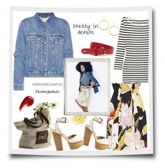 """""""Pretty in denim😍 wardrobe staple: denim jacket...#jacket #skirt #stripeshirt #heels #bag #beauty #polyvore"""" by fashionlibra84 ❤ liked on Polyvore featuring Vivienne Westwood Anglomania, Acne Studios, Madewell, Lacoste, DAY Birger et Mikkelsen, Shellys, Vita Fede and NARS Cosmetics"""