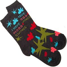 While they may potentially be the last thing someone sees before you kick em to the curb, our I Have Mood Swings Socks playfully admit to your sometimes unexpected rapid change of demeanor.