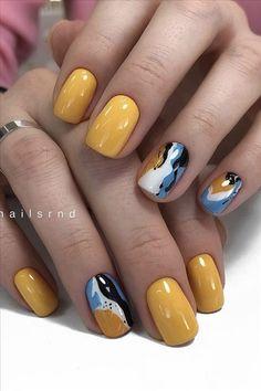 Fancy Nail Art, Pretty Nail Art, Fancy Nails, Yellow Nails, Green Nails, Short Almond Nails, Short Nails, Simple Nails, Classy Nails