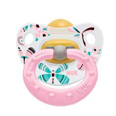 NUK Baby Pacifier Happy Kids Orthodontic 6-18 Months Latex Pink Girl (4132-4) #NUK