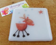 Christmas Reindeer Fused Glass Coaster UK by shineon2 on Etsy, £5.50
