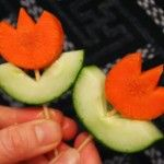 You can also put veg on toothpicks and have a dip like these little vegetable flowers