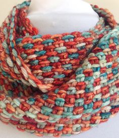 Knit Cowl Infinity Scarf Turquoise Rust by StitchesnQuilts on Etsy
