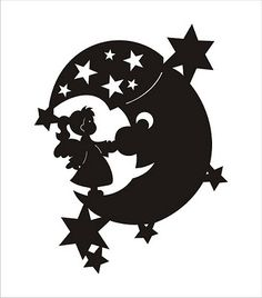 moon and girl  svg