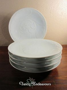 FIVE Chinese Porcelain Celadon Plates with Embossed Floral Pattern Signed #Unknown