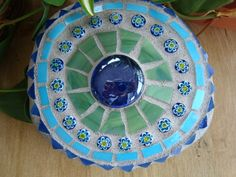 Blue and green mosaic rock by workglass on Etsy, $25.00
