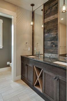 Rustic Master Bathroom with Undermount sink, Simple granite counters, Flat panel cabinets, Master bathroom, Pendant light