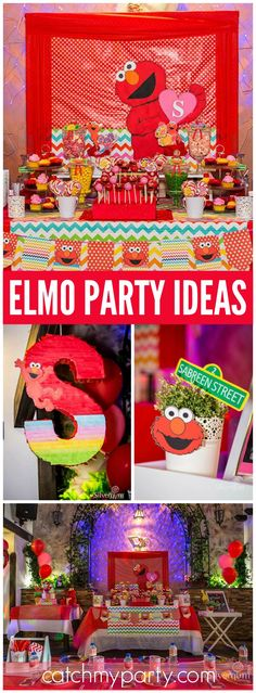 What a cool Elmo party with a candy buffet and photo booth! See more party ideas at CatchMyParty.com!