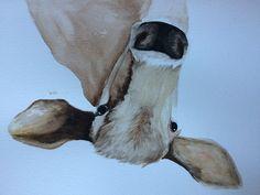 watercolor brown cow