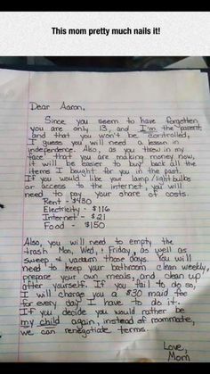 Check out this awesome letter a feisty mom. Parenting done right. Parenting Done Right, Kids And Parenting, Parenting Hacks, Parenting Classes, Parenting Styles, Funny Parenting, Parenting Quotes, Parenting Humor Teenagers, Parenting Goals