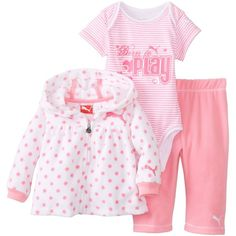 PUMA Baby-Girls Newborn 3 Packet Jacket New Born Pant Set ($44) ❤ liked on Polyvore featuring baby girl