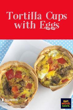 Fun and delicious breakfast idea! #eggs #breakfast #tortillacups #tortillas #sausage