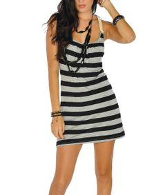 Black Stripe Racerback Dress | Daily deals for moms, babies and kids