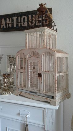 alter vogelk fig holz wei frankreich shabby vintage deko bird cage pinterest k fig. Black Bedroom Furniture Sets. Home Design Ideas