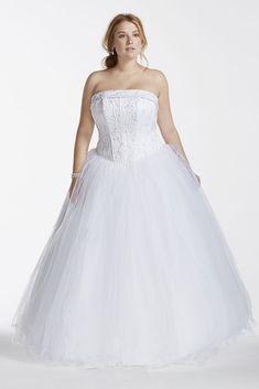 Extra Length Tulle Plus Size Wedding Dress with Beaded Satin - White, 24W