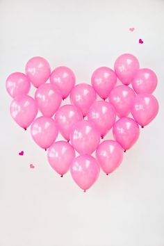 pink balloons in heart shape