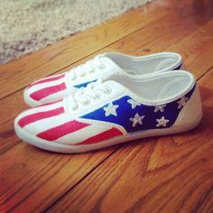 DIY Patriotic Sneakers  american flag tretorns, badass