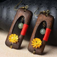 Ethnic Handmade Wood Jade Earrings Vintage Gold Daisies Flower Dangle Earrings for Women is designed to show your charm, buy Ethnic Handmade Wood Jade Earrings Vintage Gold Daisies Flower Dangle Earrings for Women now! Jade Earrings, Flower Earrings, Dangle Earrings, Wooden Earrings, Vintage Earrings, Aliexpress, Handmade Wooden, Handcrafted Jewelry, Jewelry Crafts