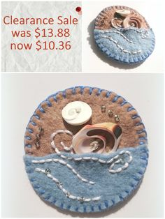 Clearance - On Sale - Felt Brooch With Sea Shells - Felt Sea Brooch Pin Badge - Felt Summer Beach Brooch - Handmade - pinned by pin4etsy.com