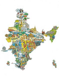 Today, when the economic crisis has touches its peak point, the Ministry of Tourism has seen a new hope in the domestic Tourism Segment. India Map, India Travel, India India, Indian Illustration, Travel Illustration, Continents And Countries, Pictorial Maps, Isometric Art, India Culture