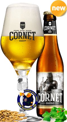 """Our New Beer: Palm Cornet Oaked 8.5°  CORNET is a strong blond Belgian beer that has a subtle, willful and sophisticated wood flavour with a note of vanilla and a """"velvety"""" mouth feel that rivals that of an oak-matured wine. Available at http://store.belgianshop.com/special-beers/1516-cornet-oaked-85-13l.html"""