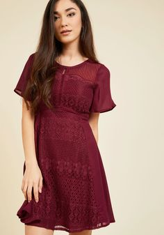 Glee for Details Lace Dress. Nothing gets you giddy quite like an excellent collection of accents, like those showcased atop this burgundy dress! #red #modcloth