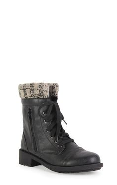 Deb Shops Faux Leather Sweater Trim Combat Boot with Lace Up Front $34.50
