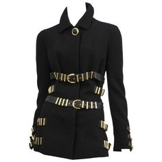 Pre-owned Gianni Versace Black Bondage Jacket (422.305 RUB) ❤ liked on Polyvore featuring outerwear, jackets, coats, versace, vintage leather belt, versace jacket, wool jacket, leather belt and vintage jacket