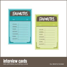 """Printable -- """"Interview Cards -  Favorites"""" from Creating Keepsakes"""