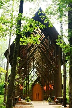 This glass chapel is Garvan Woodland Gardens, near Hot Springs, Arkansas.