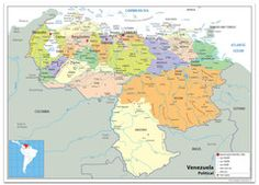 Venezuela Political Map Wall Maps, Vinyl Banners, Prints, Venezuela