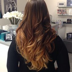Ombre on medium dark hair perfect for fall and easy to lighten and brighten for summer!