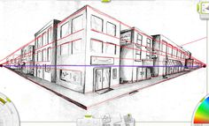 This image is a two point perspective pencil drawing of a street corner. It is not a famous painting that is in a museum, but nevertheless, it is an excellent example of two point perspective. Perspective Building Drawing, 2 Point Perspective Drawing, Perspective Images, Perspective Photography, Two Point Perspective City, Family Photography, Building Sketch, Architecture, Drawing Sketches