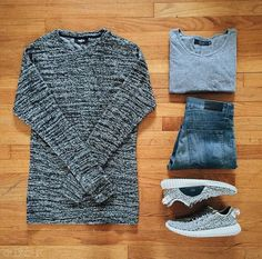 Outfit grid - Marl sweater & jeans. Sweaters, shoes, jackets and jeans are what I am in need of
