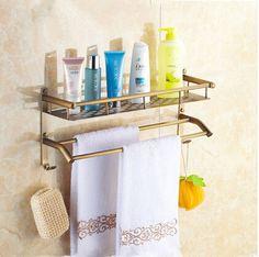 Antique Brass Bathroom Dual-use Shelves & Towel Bar TA131C