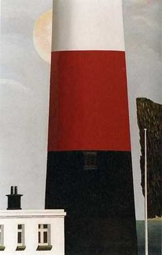 """""""Lighthouse"""" by David Inshaw, 1994 Tate Gallery, Landscape Paintings, Landscapes, Naive Art, Love Symbols, Epiphany, Illustration Art, Illustrations, Home Art"""