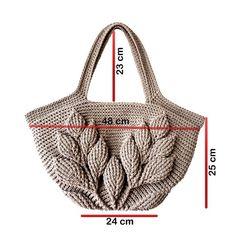 Minimalist Style Crochet Bag,Embossed Leaves Crocheted Tote,Natural Cotton Large Bag,Strong and Flexible Crochet Handbag,Shopper-Market Bag – Handwerk und Basteln Crochet Tote, Crochet Handbags, Crochet Purses, Free Crochet, Cotton Crochet, Irish Crochet, Purse Patterns, Crochet Patterns, Sewing Patterns