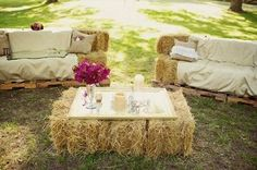Hay Bale Creative Seating - create a 'lounge' area out of hay bales for eco-friendly seating at your green event.